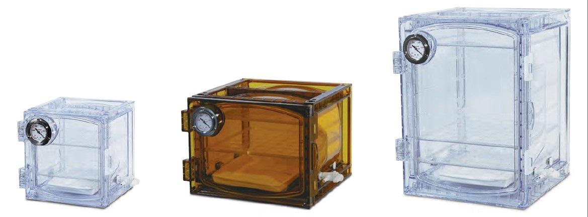 Dessecadores de policarbonato ambar com manômetro de pressão