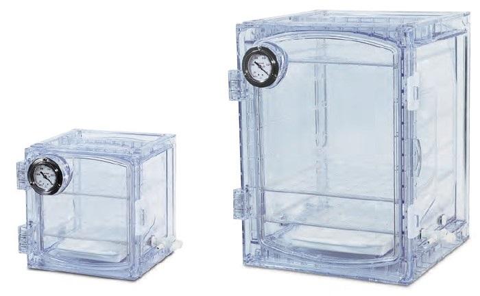 Dessecadores de policarbonato transparente com manômetro de pressão e válvula da CMS