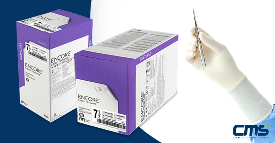 Luva para uso médico Latex sem po texturizada Encore - CMS Científica