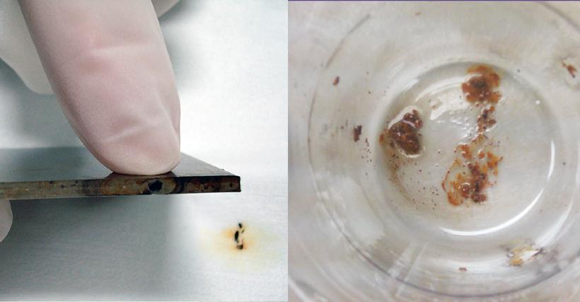 Corrosão de superfícies de aço inox por água sanitária